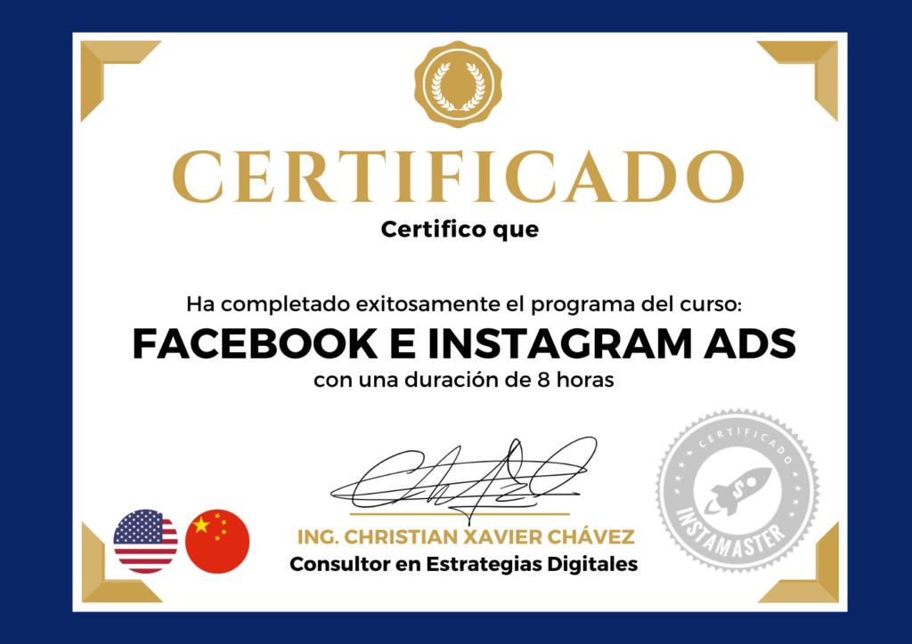 Certificado Instagram Facebook ADS