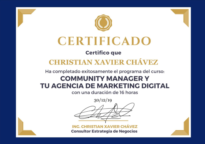 Certificado Online Community Manager